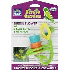 Vo-Toys Birdie Flower with Two Seed Cups and Perch Bird Toy Assorted Colors